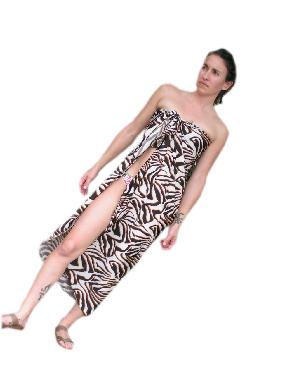 Sarong Cover Up Long Zebra Print