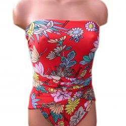 Bathing Suit Medium Wrap-around Swimsuit Red Oriental